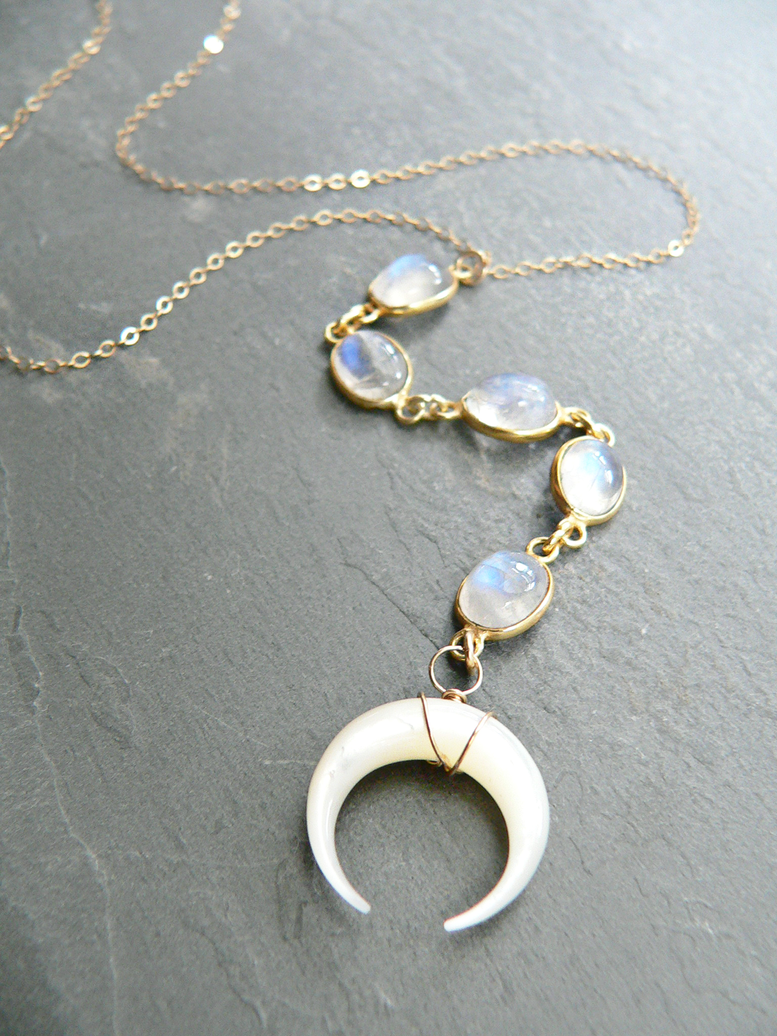 MOONSTONE + CRESCENT MOON LARIAT
