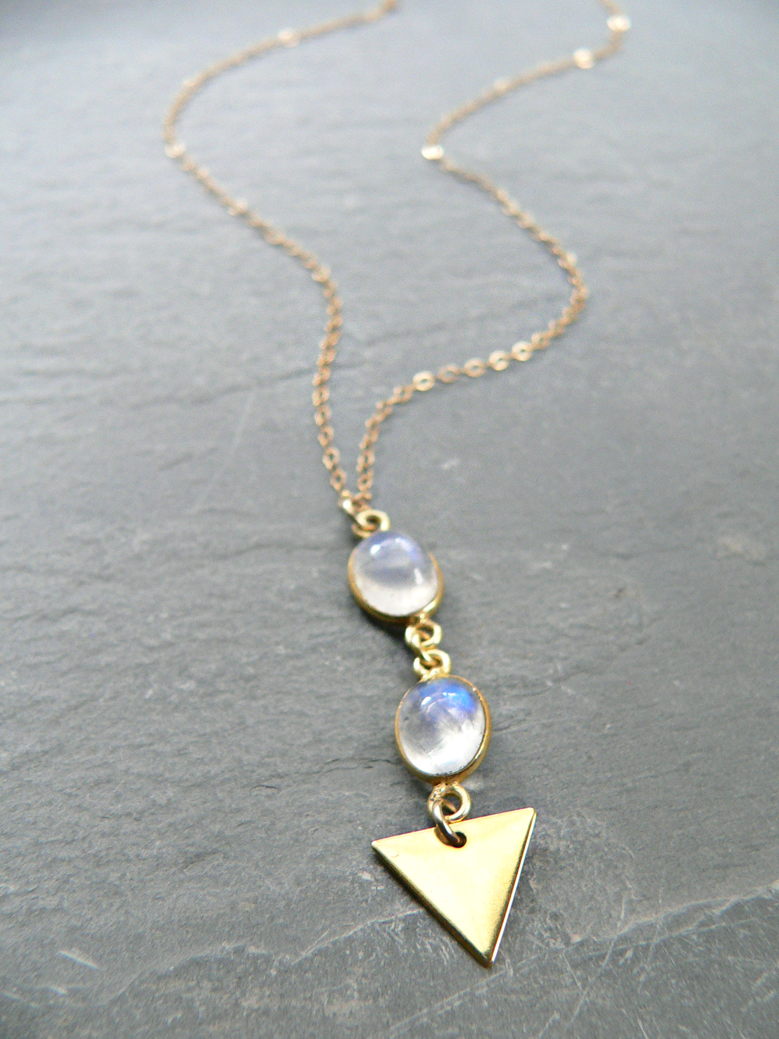 MOONSTONE + TRIANGLE NECKLACE