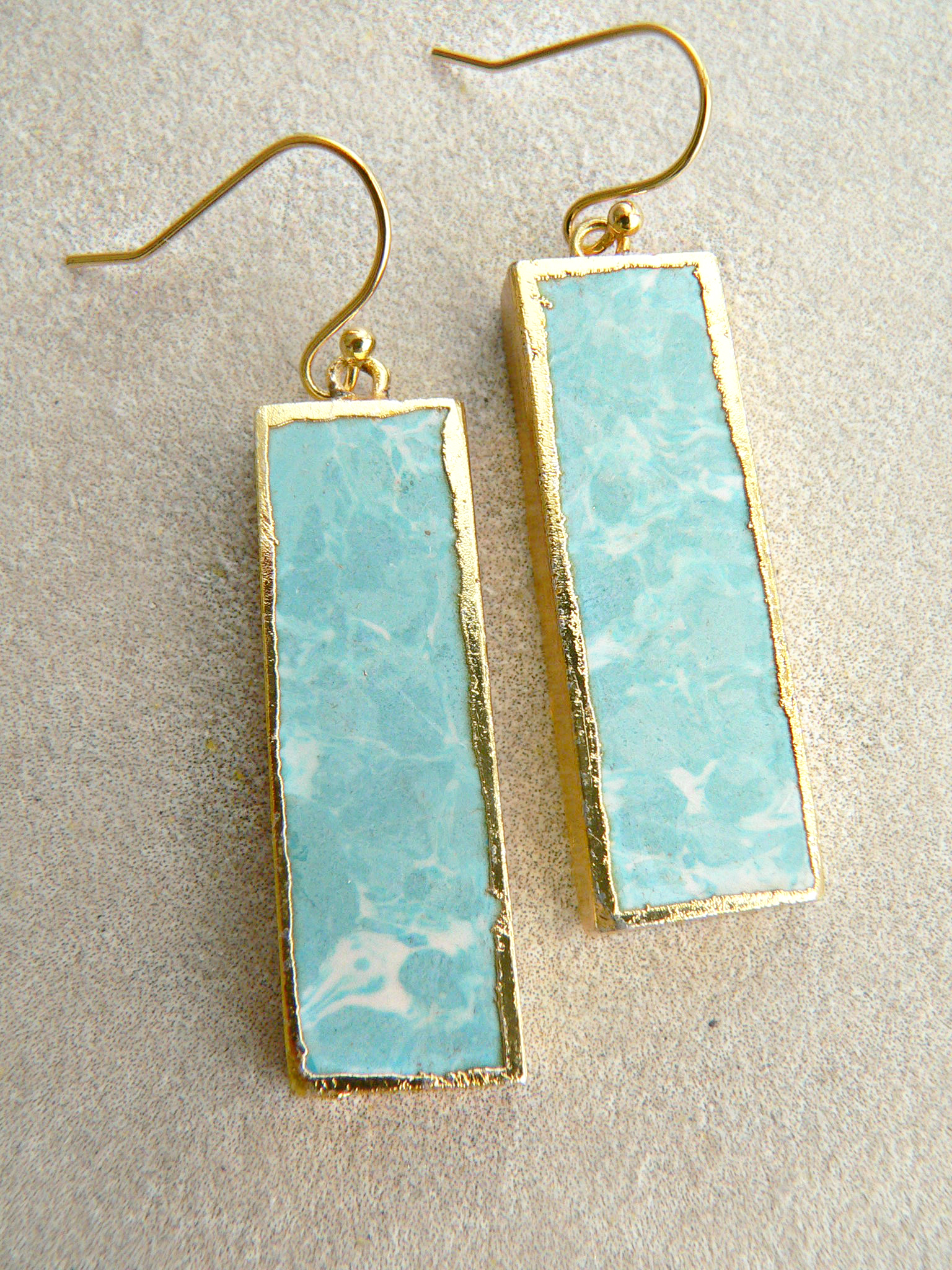 LARIMAR BAR EARRINGS