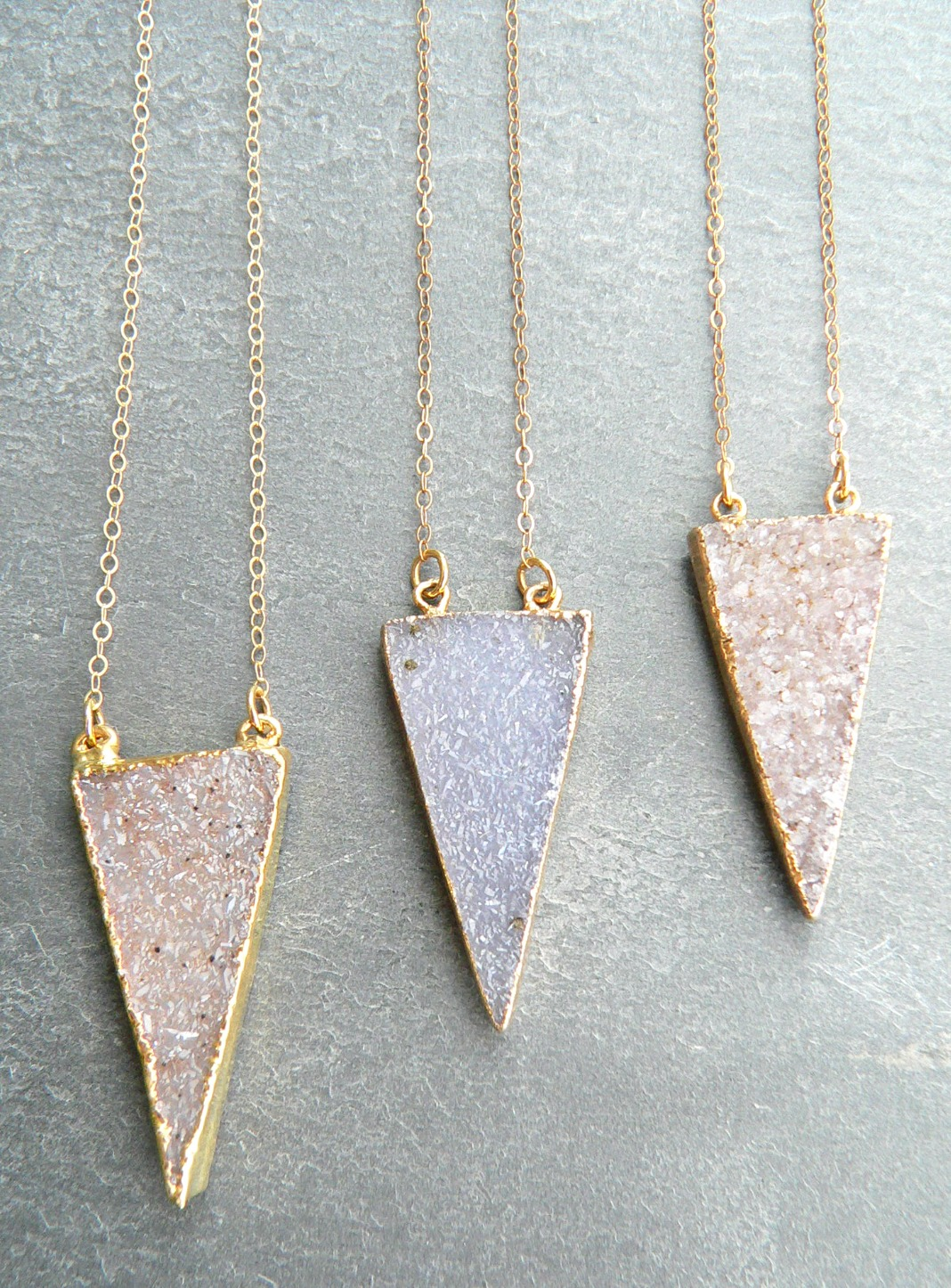 CRYSTAL DRUZY TRIANGLE NECKLACE