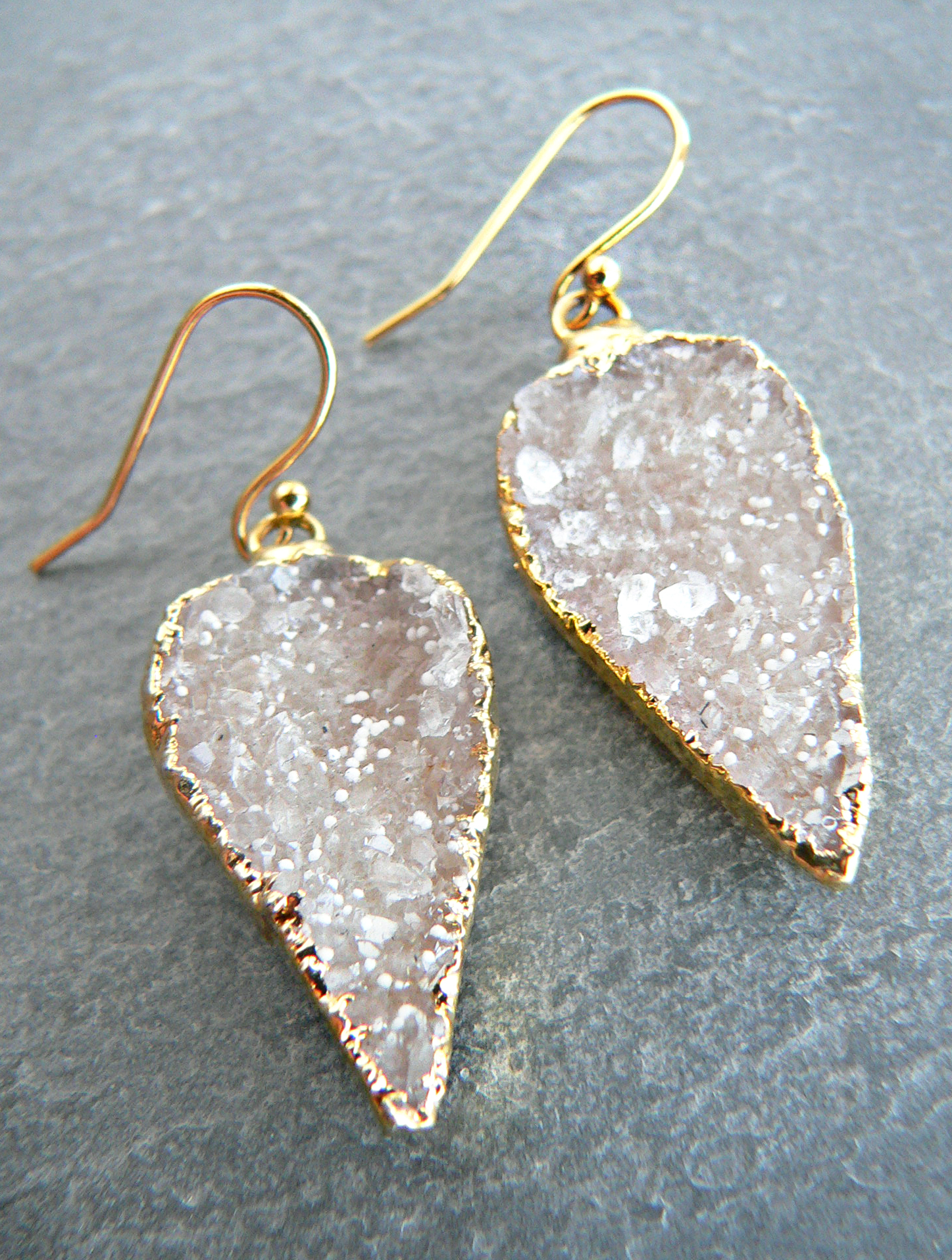 DRUZY CRYSTAL GOLD EARRINGS