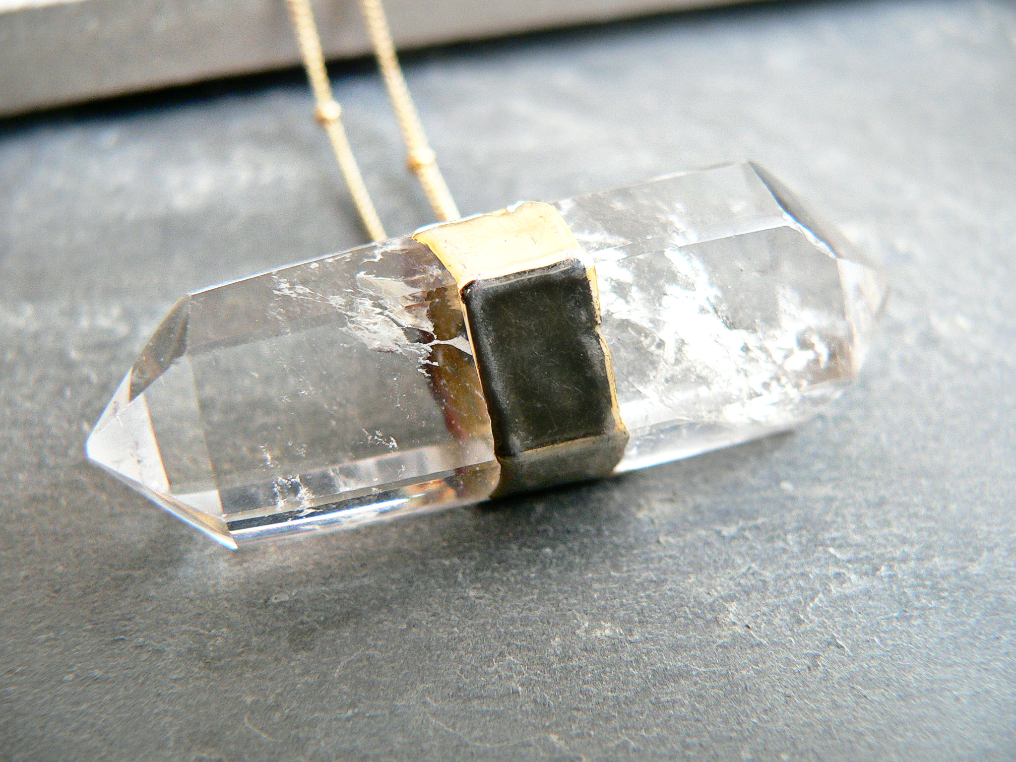 DOUBLE POINT QUARTZ CRYSTAL NECKLACE