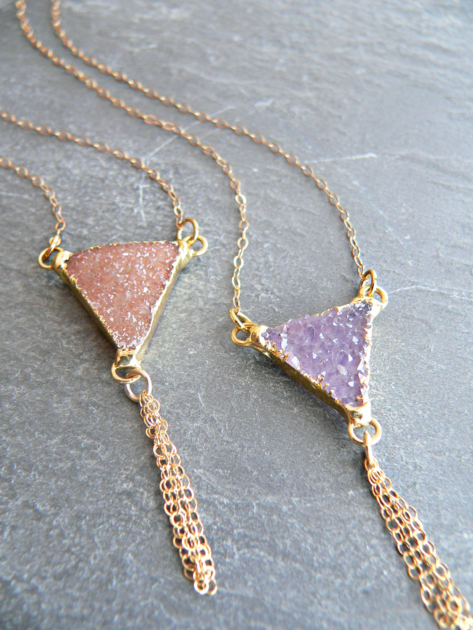DRUZY CRYSTAL TRIANGLE NECKLACE