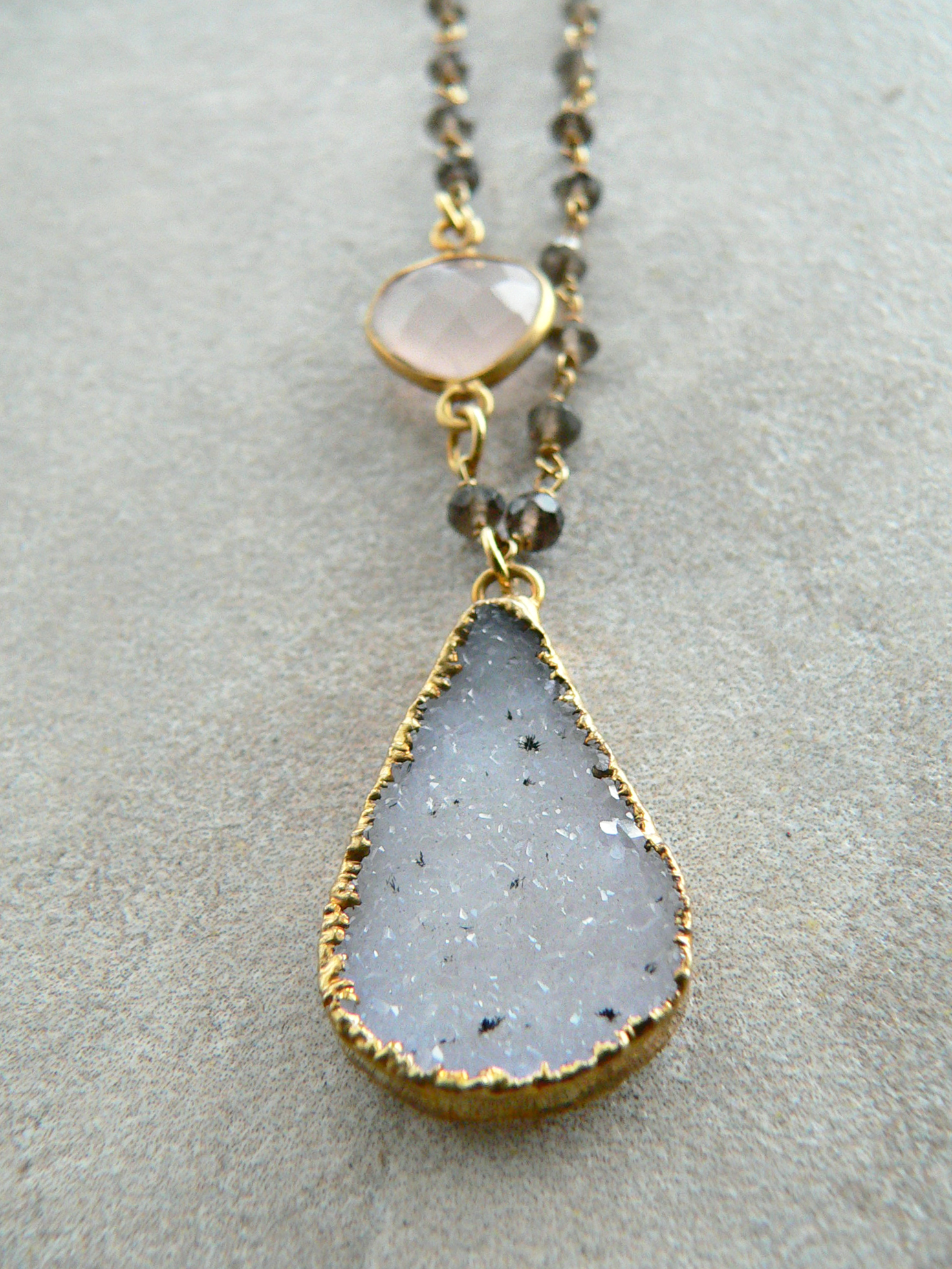 DRUZY + SMOKEY TOPAZ NECKLACE