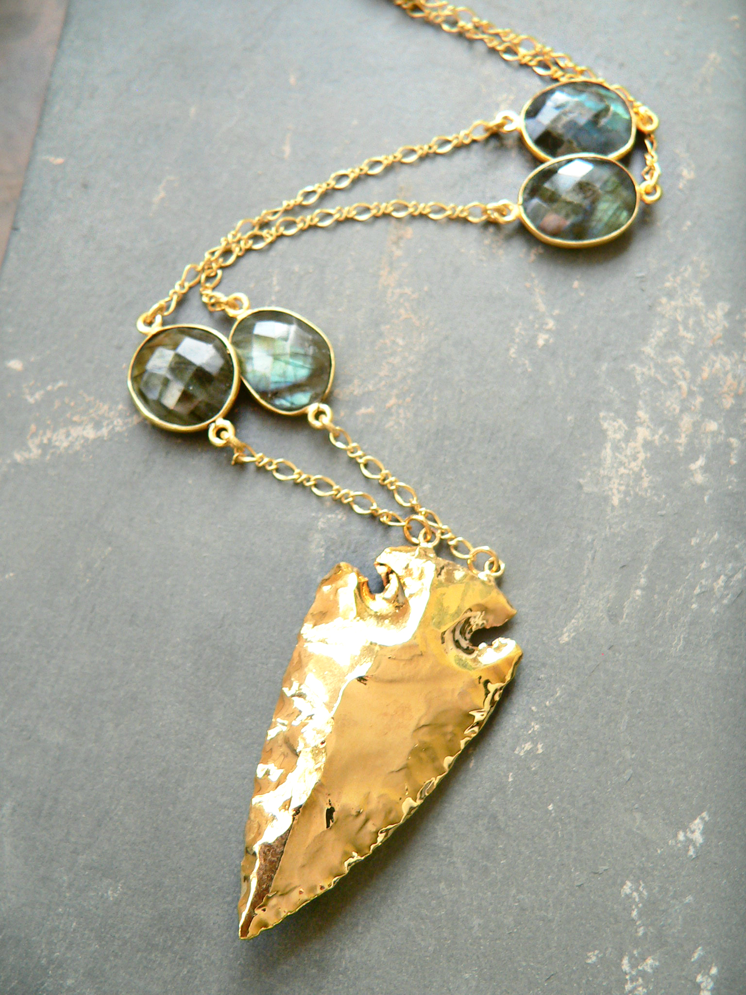 LABRADORITE + ARROWHEAD NECKLACE