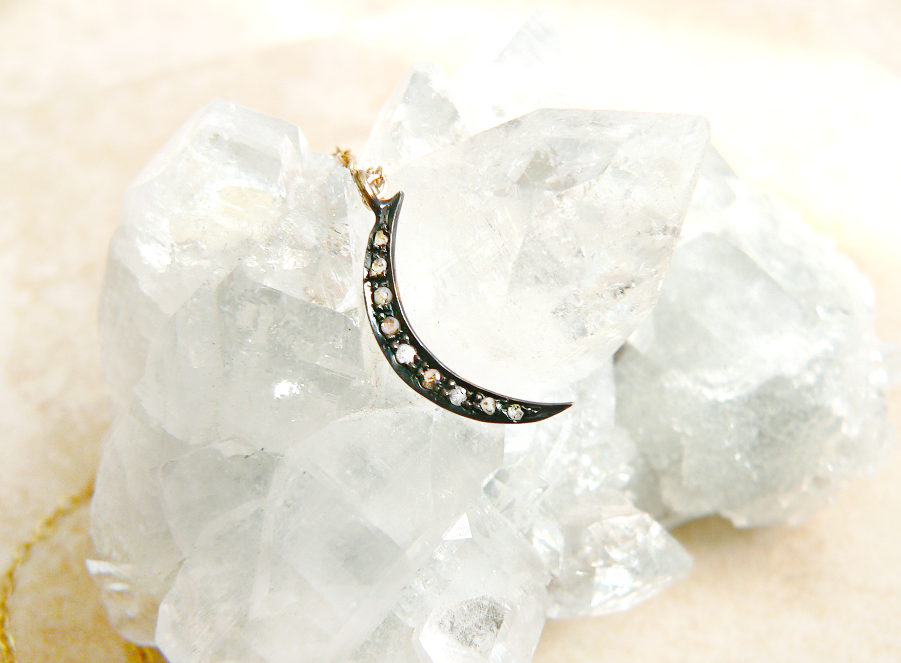 MINI DIAMOND MOON NECKLACE