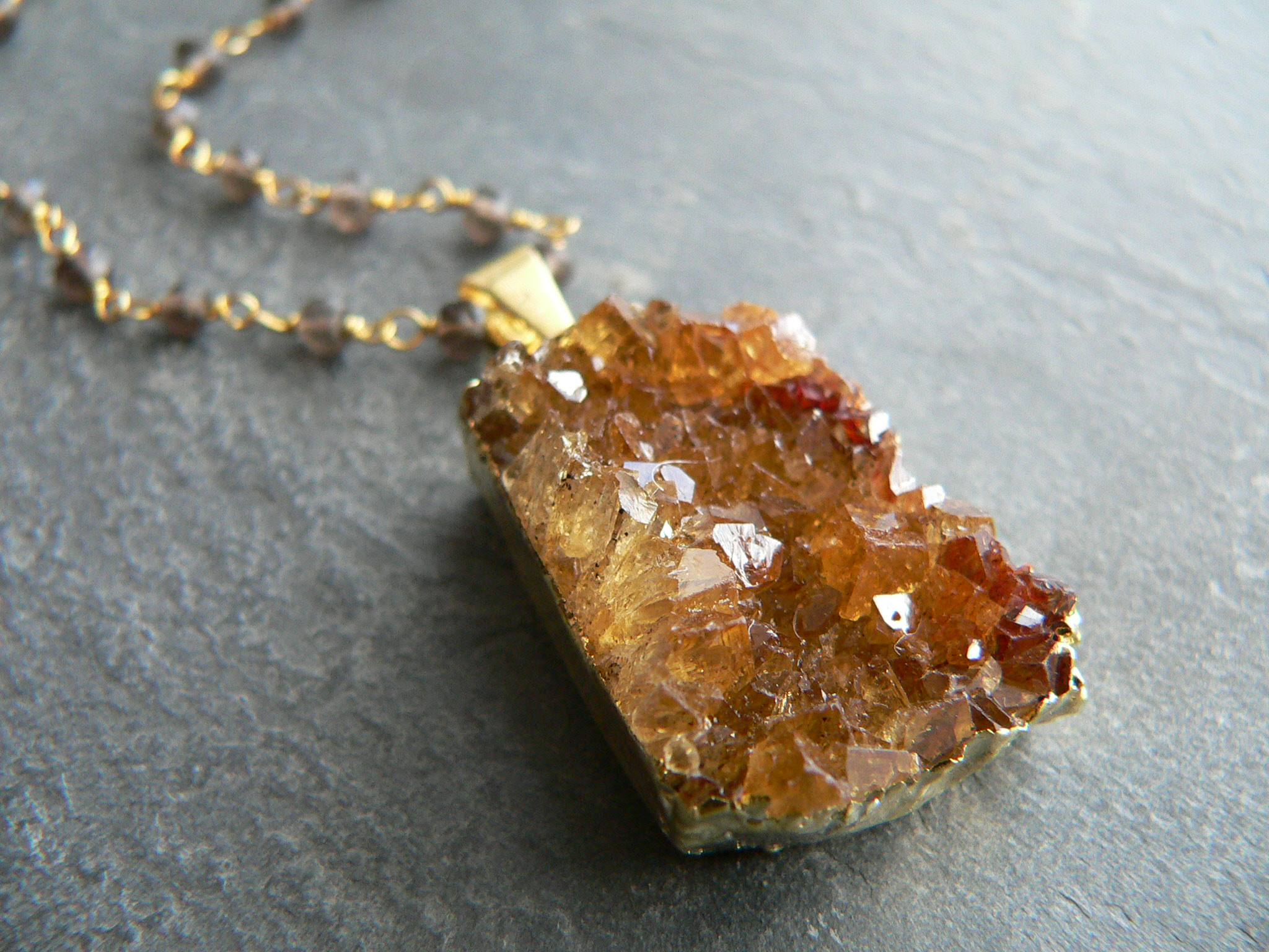 CITRINE CRYSTAL + TOPAZ NECKLACE