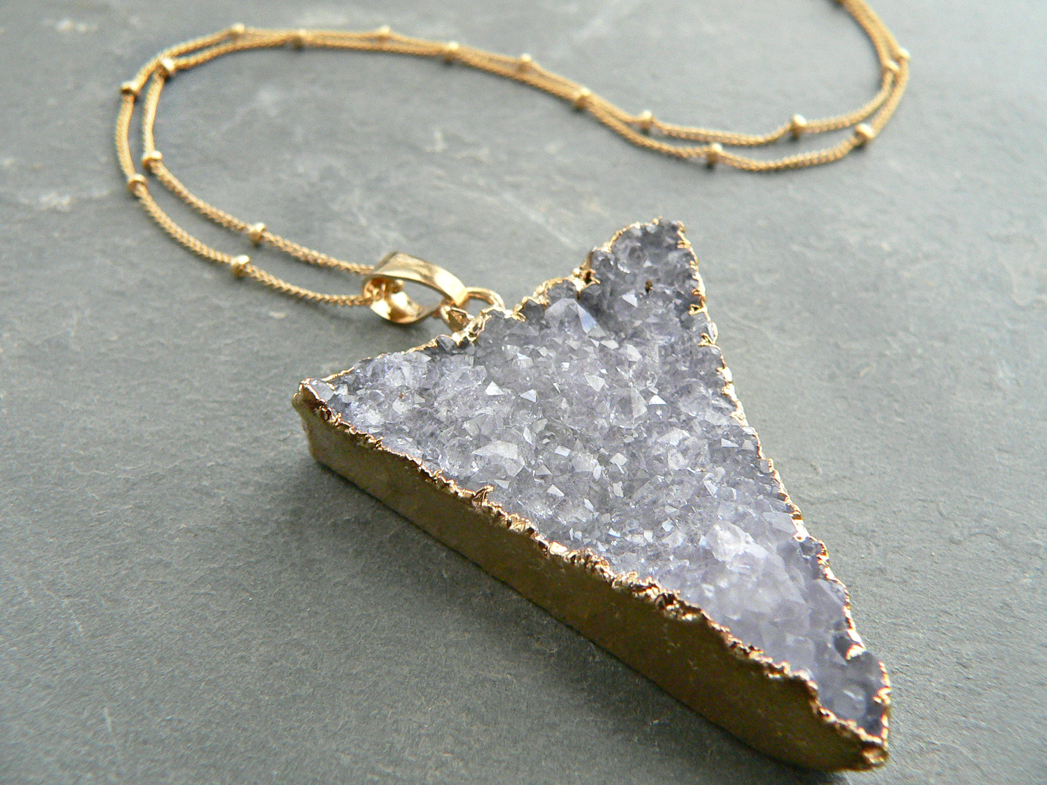 AMETHYST CRYSTAL TRIANGLE NECKLACE