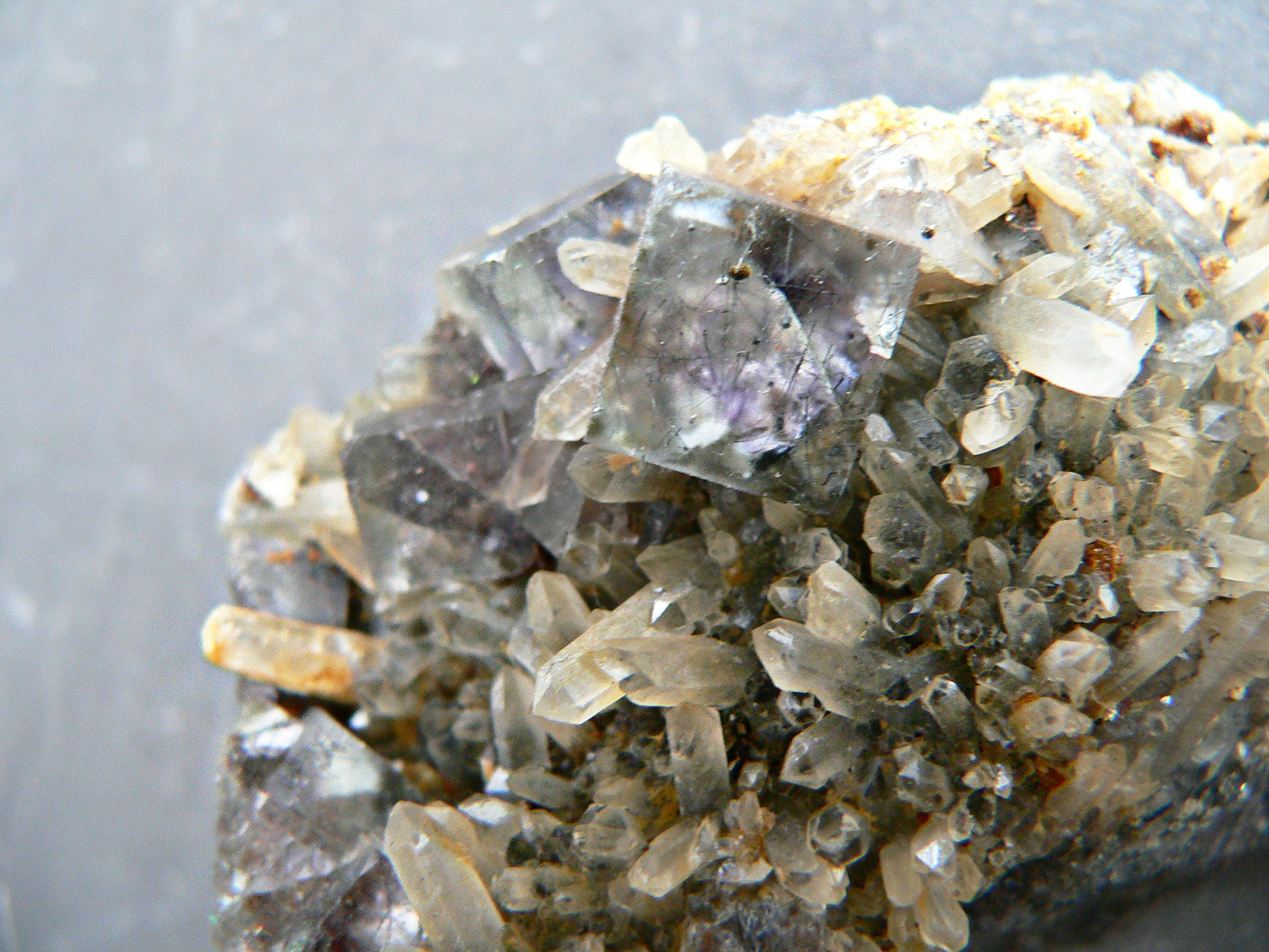 FLOURITE + QUARTZ CRYSTAL MATRIX