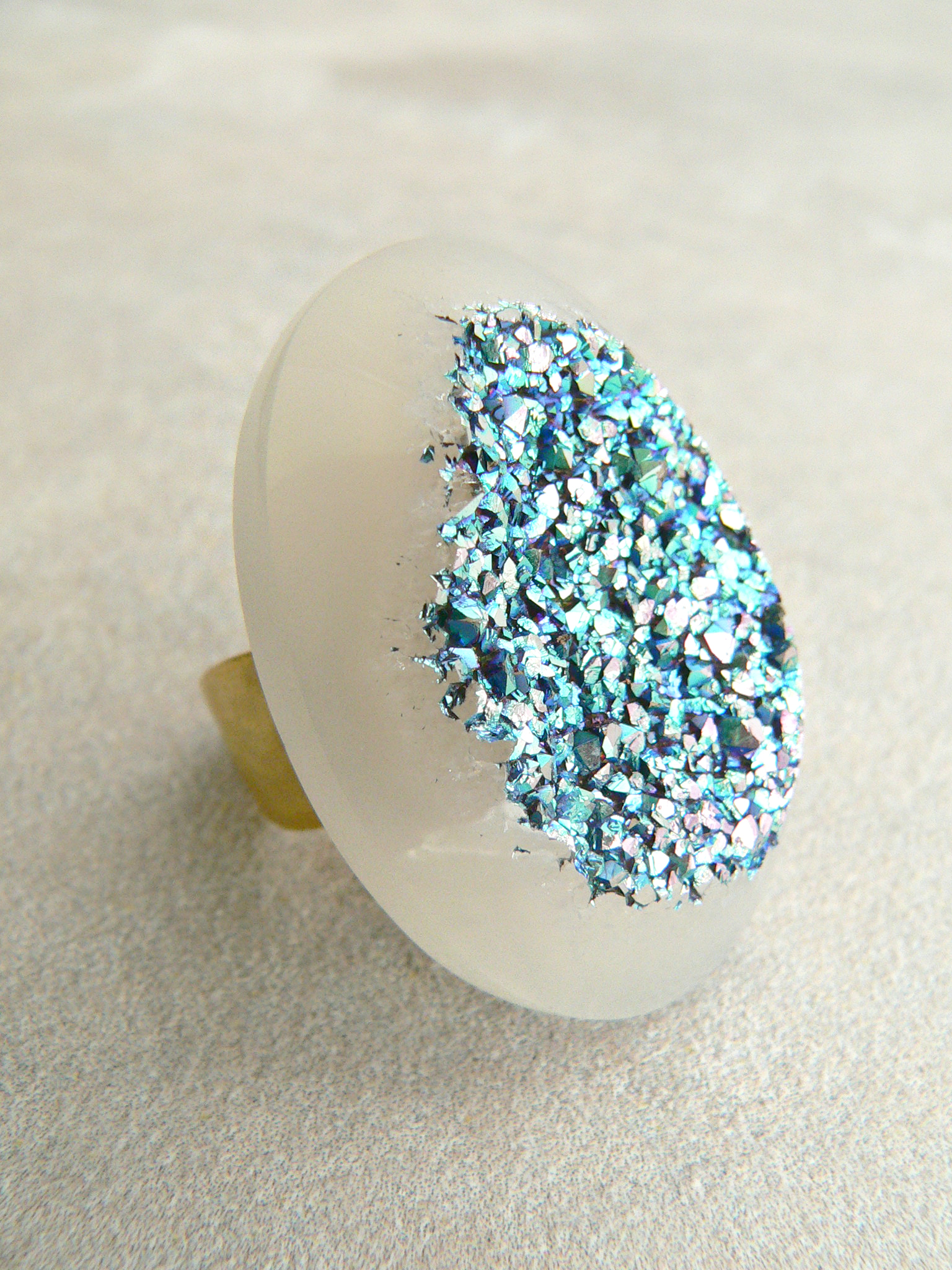 TEAL AURA DRUZY RING