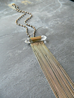 CRYSTAL POINT + GOLD PYRITE NECKLACE