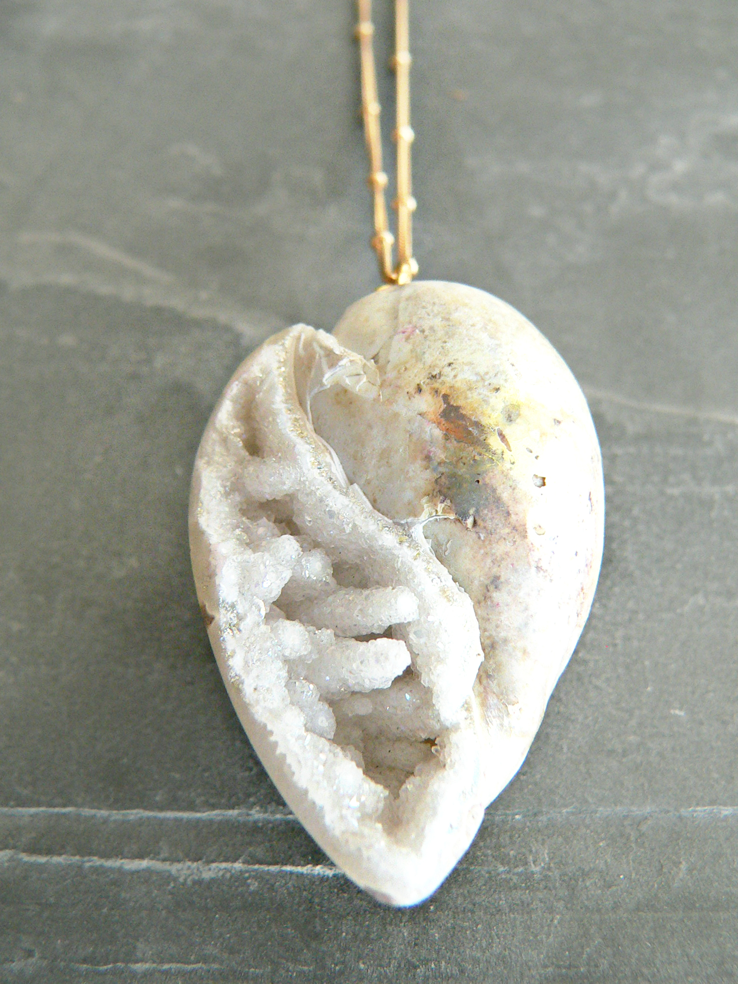 CRYSTAL SEASHELL FOSSIL NECKLACE
