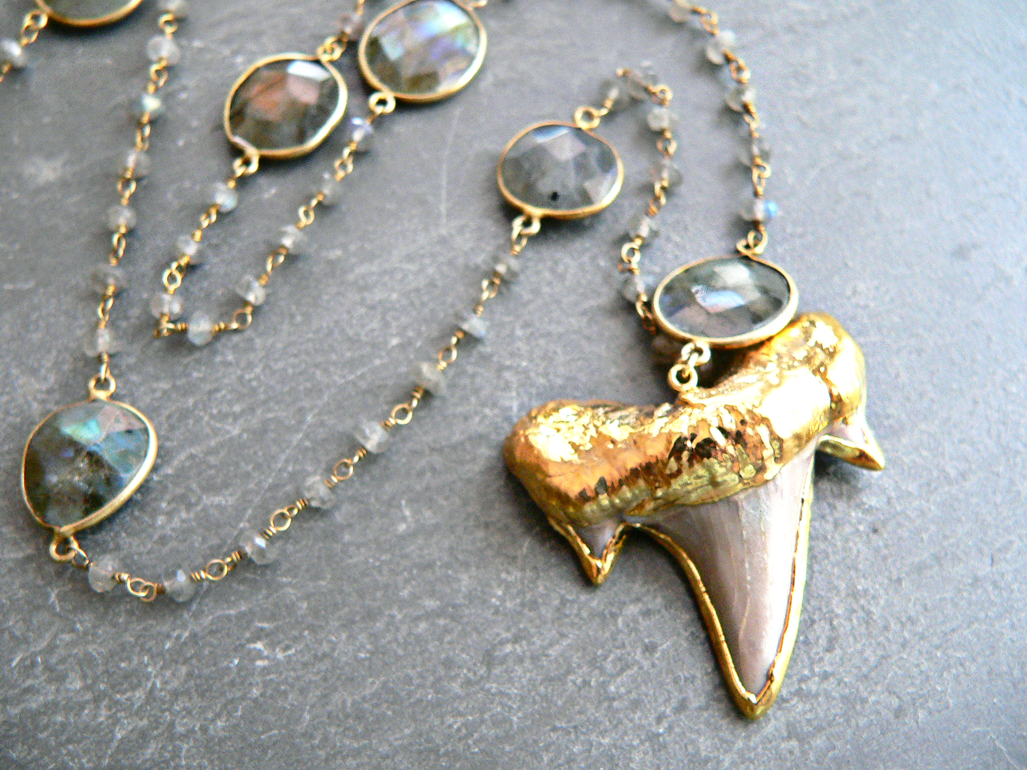 LABRADORITE + SHARKTOOTH NECKLACE