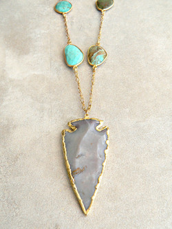 AGATE ARROWHEAD + TURQUOISE NECKLACE