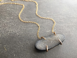 GREY DRUZY GOLD FILLED NECKLACE