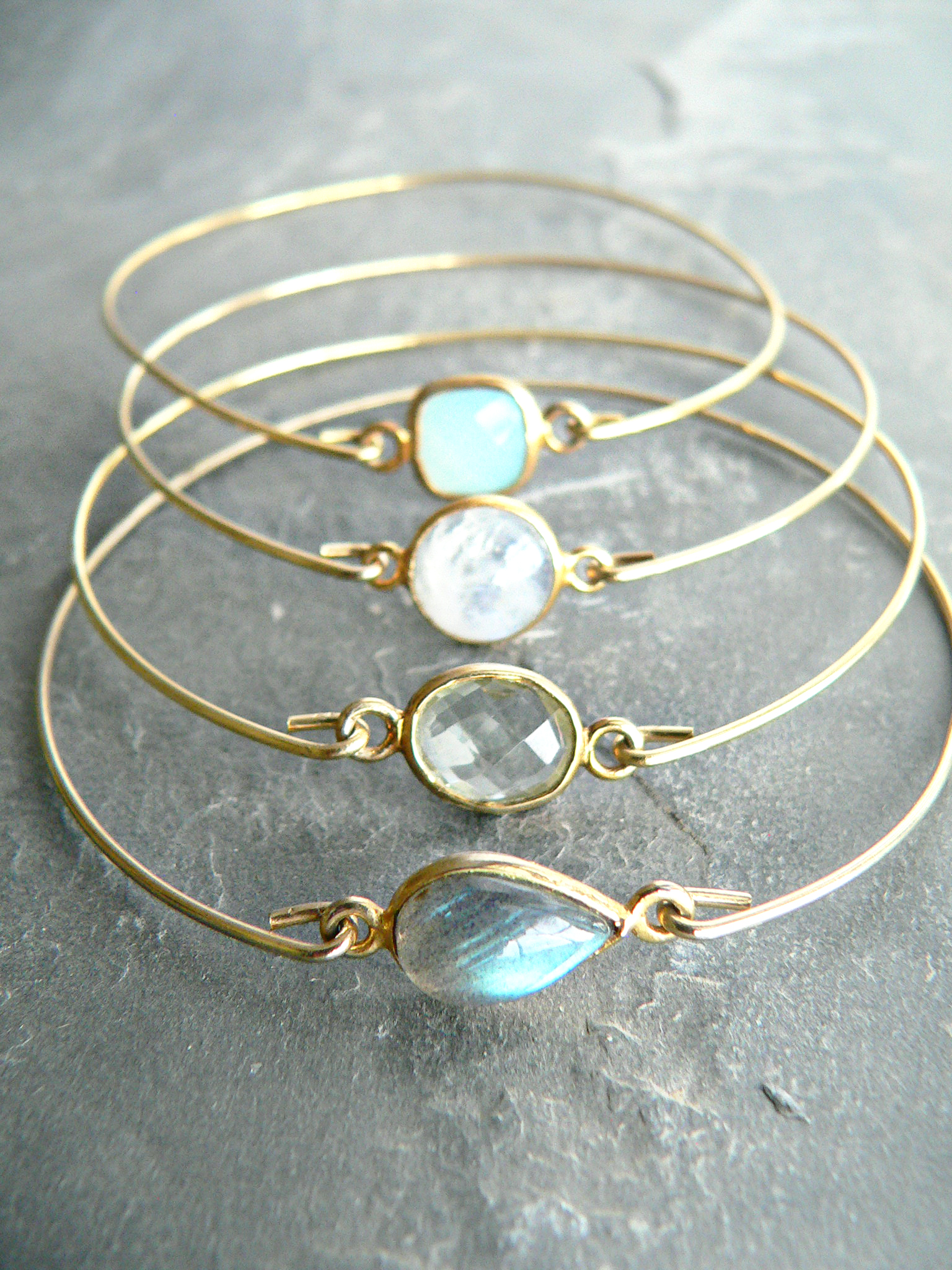 GEMSTONE BANGLE BRACELET SET