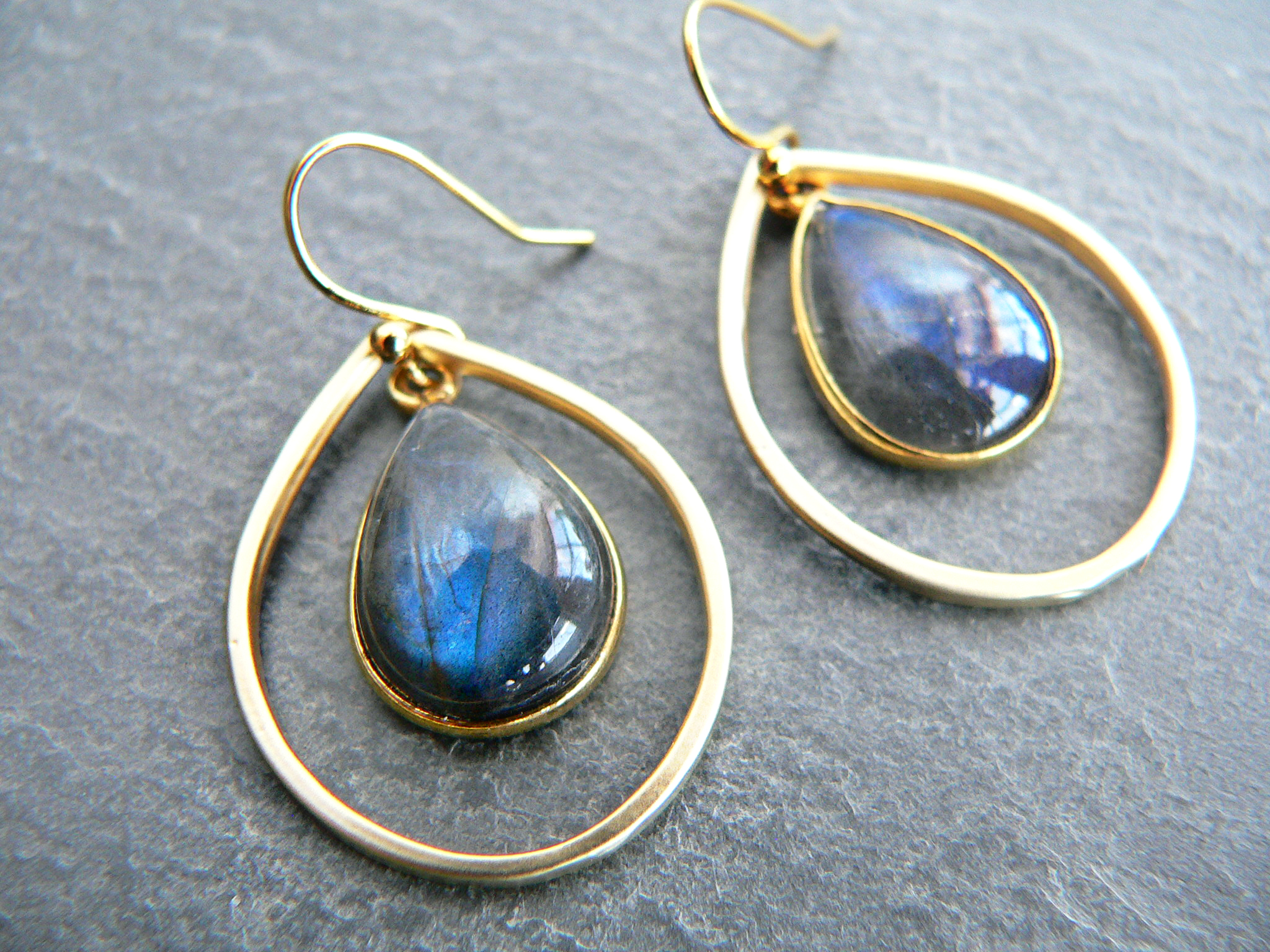 LABRADORITE GOLD HOOP EARRINGS