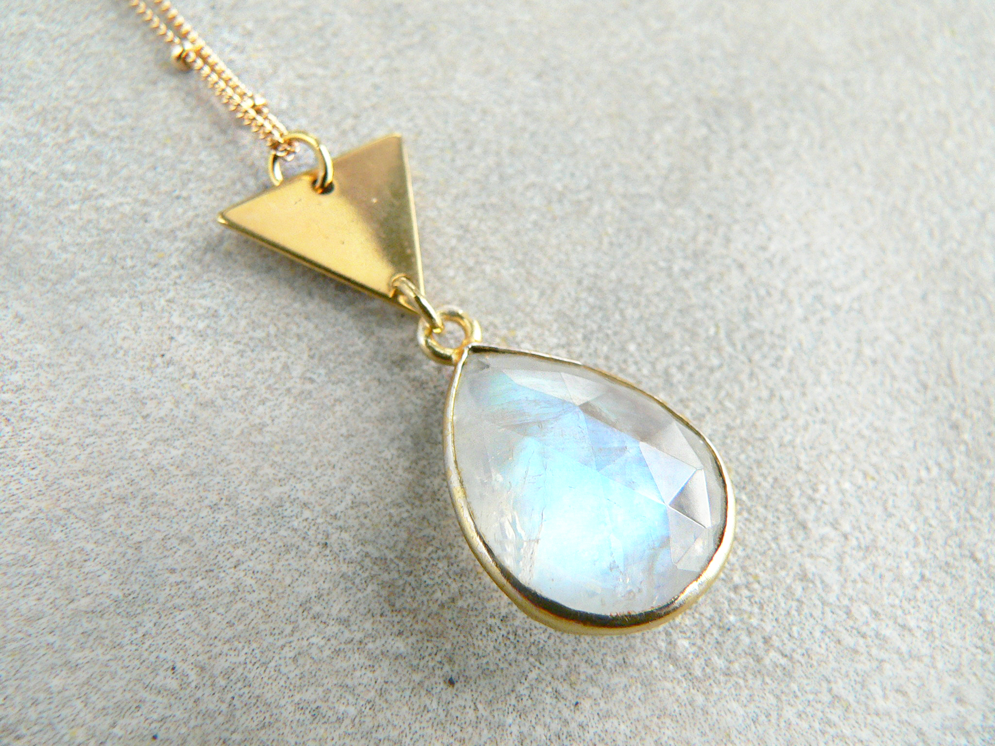 RAINBOW MOONSTONE TRIANGLE NECKLACE