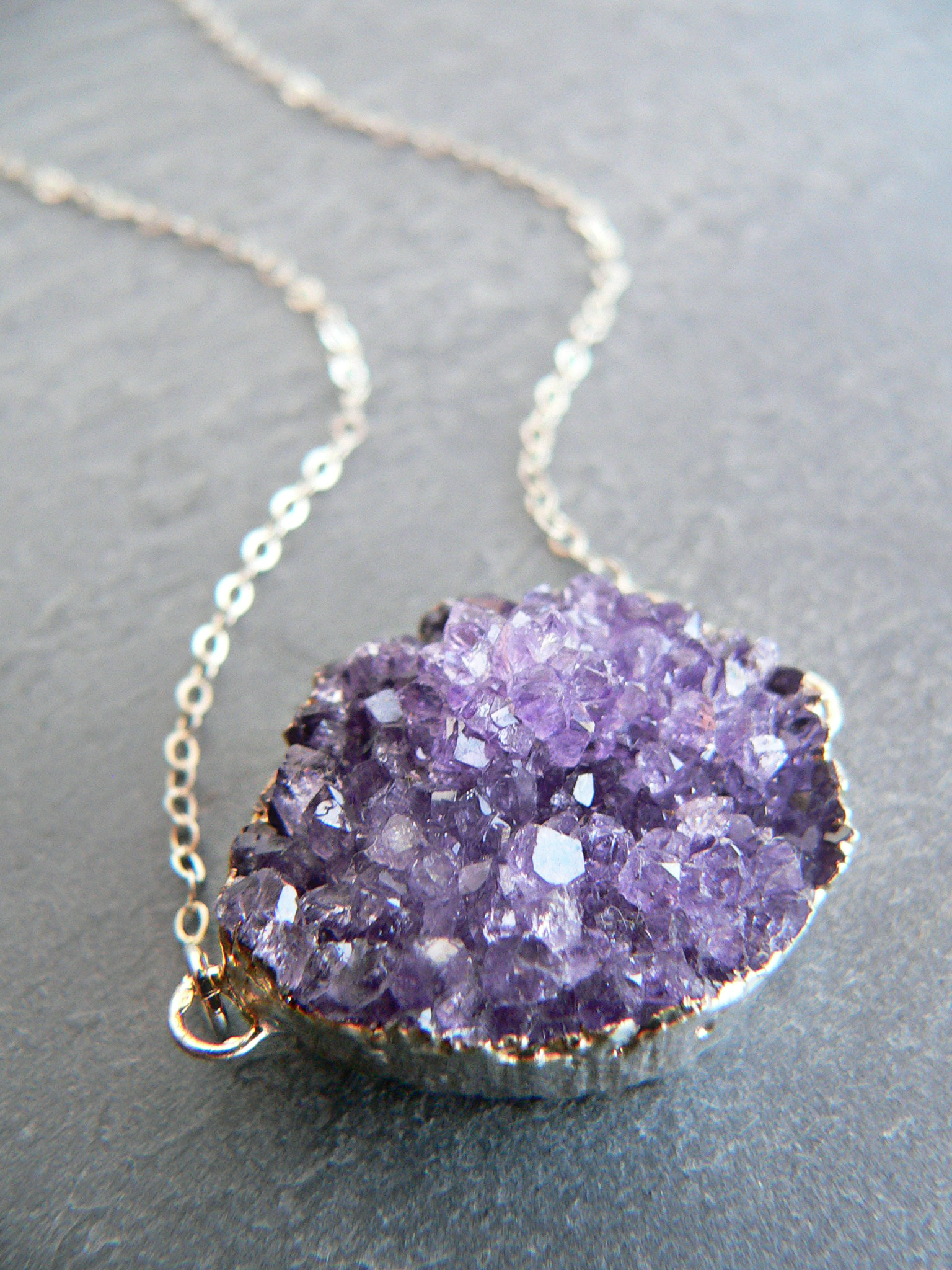 AMETHYST CRYSTAL CLUSTER NECKLACE