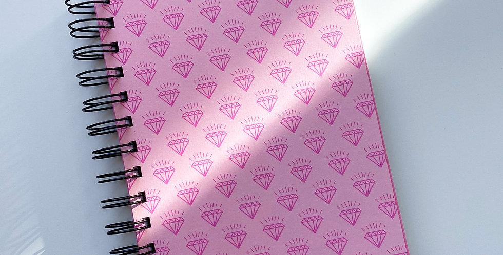 Shiny Diamond On Pink Notebook Journal