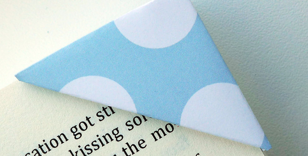 White On Blue Large Polka Dot Bookmark