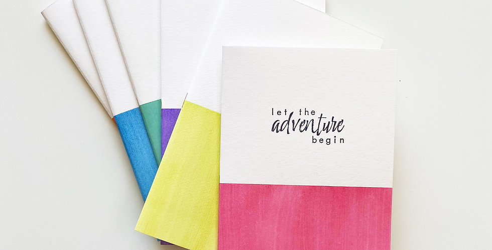 """""""Let The Adventure Begin"""" Tomoe River Hand-painted Watercolor Notebook"""