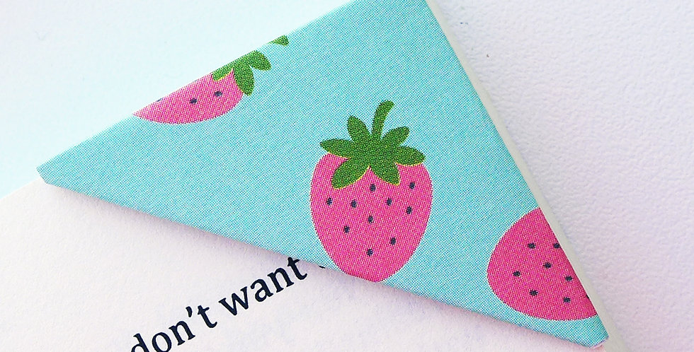 Strawberries On Lovely Green Bookmark
