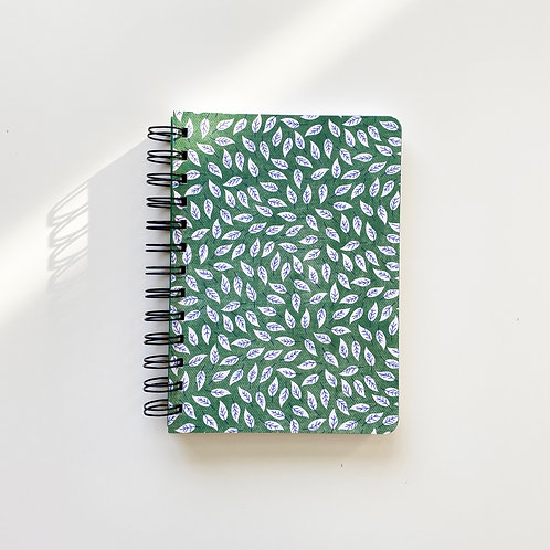 Falling Leaves On Green Notebook Journal