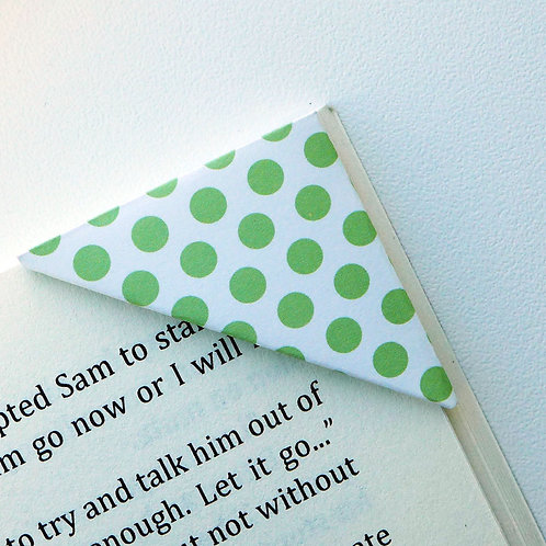Soild Green On White Polka Dot Bookmark
