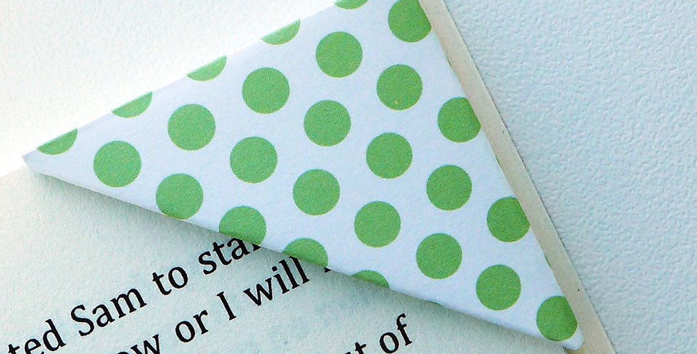 Soild Green On White Polka Dot Bookmark