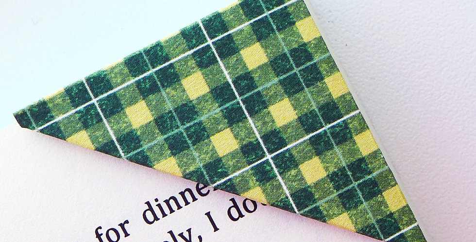 Tight Green Plaid Bookmark