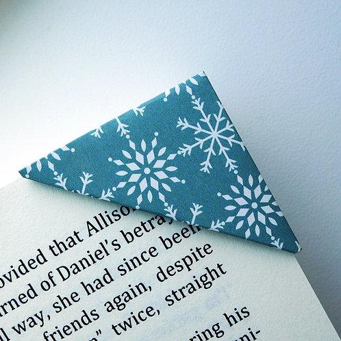 Snowflake Shower On Dark Green Bookmark