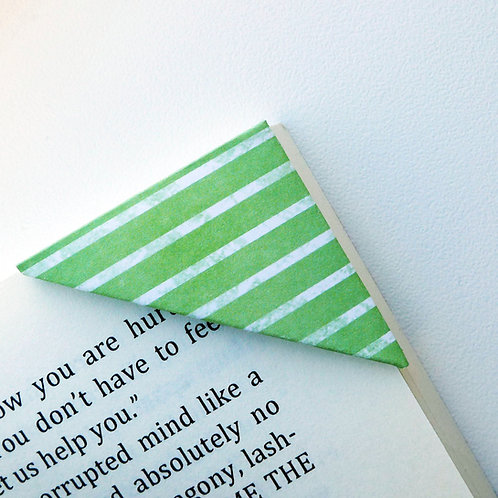 White On Green Stripe Bookmark