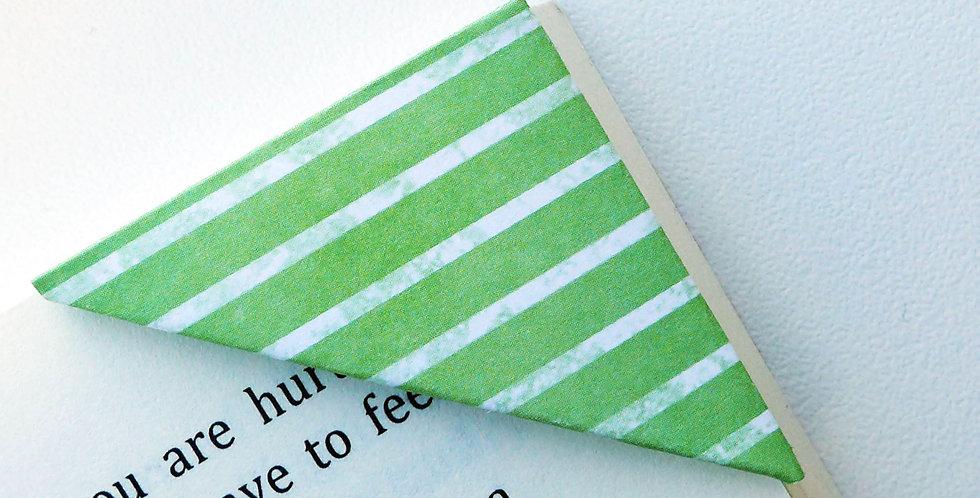 White On Green Stripe Bookmark