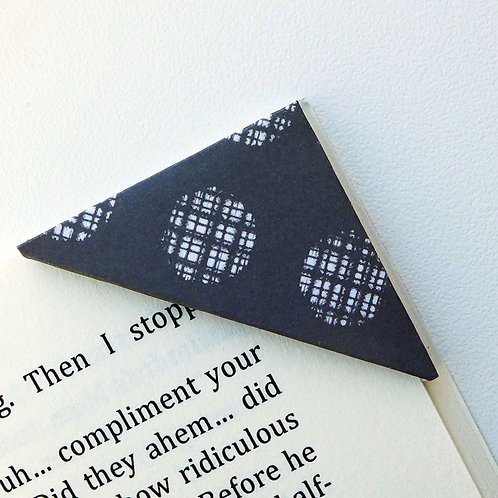 Textile White On Black Polka Dot Bookmark