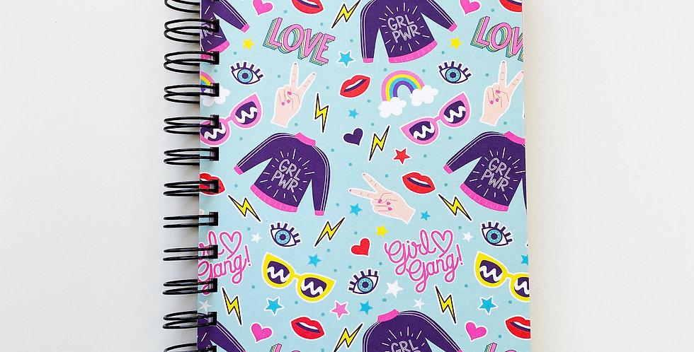 Girl Power On Blue Notebook Journal