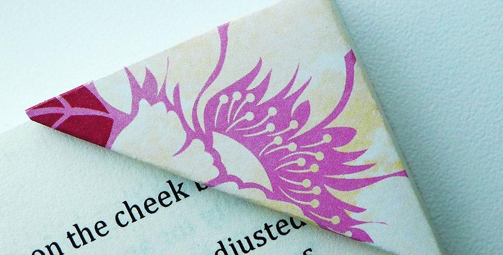 Cream Alstroemeria On Hot Pink Bookmark