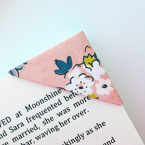 Coral Pencil Drawn Floral Bookmark