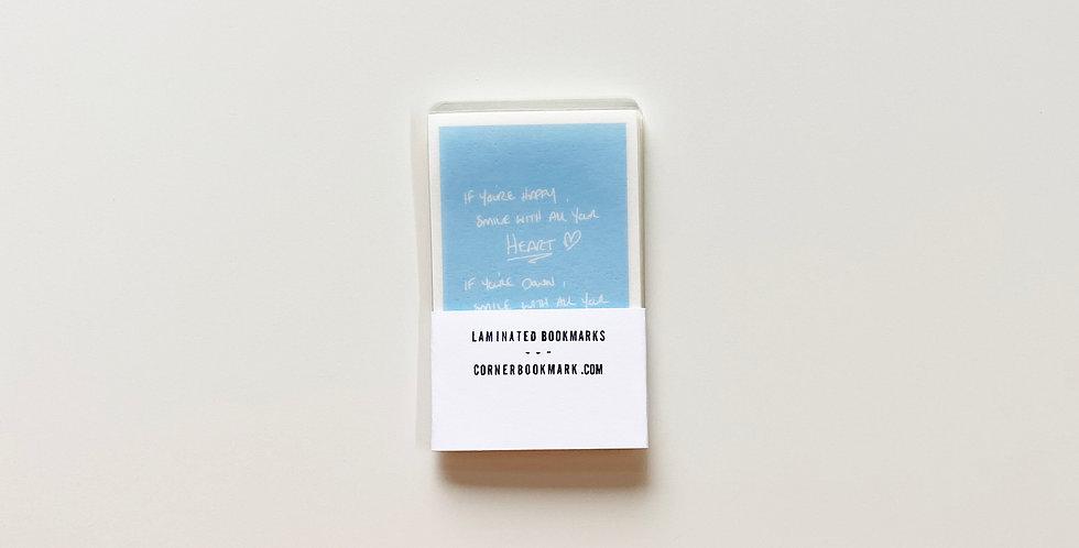 Set of 10 Vintage Laminated Bookmarks (Baby Blue)