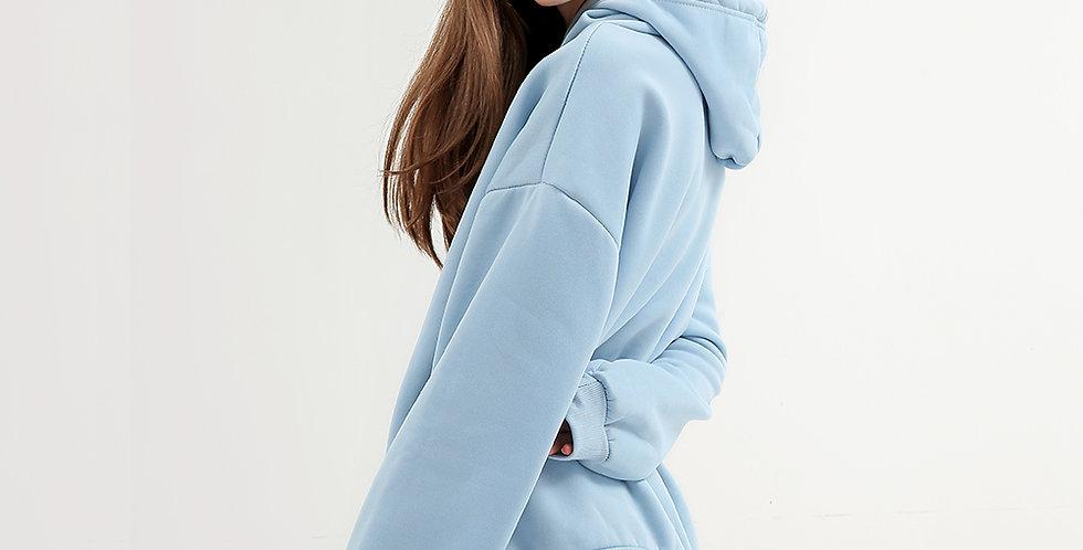 Plain Loose Fit Unisex Fleece Hoodie (4 colors)