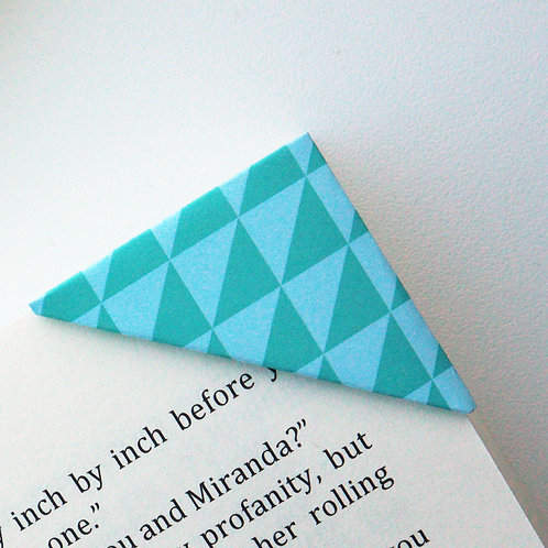 Green Blue Triangle Print Bookmark