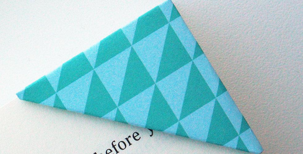 Green Blue Triangle Print Bookmark