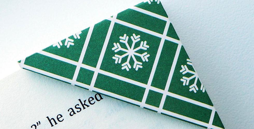 Royal Green Cross Stripe Snowflake Bookmark