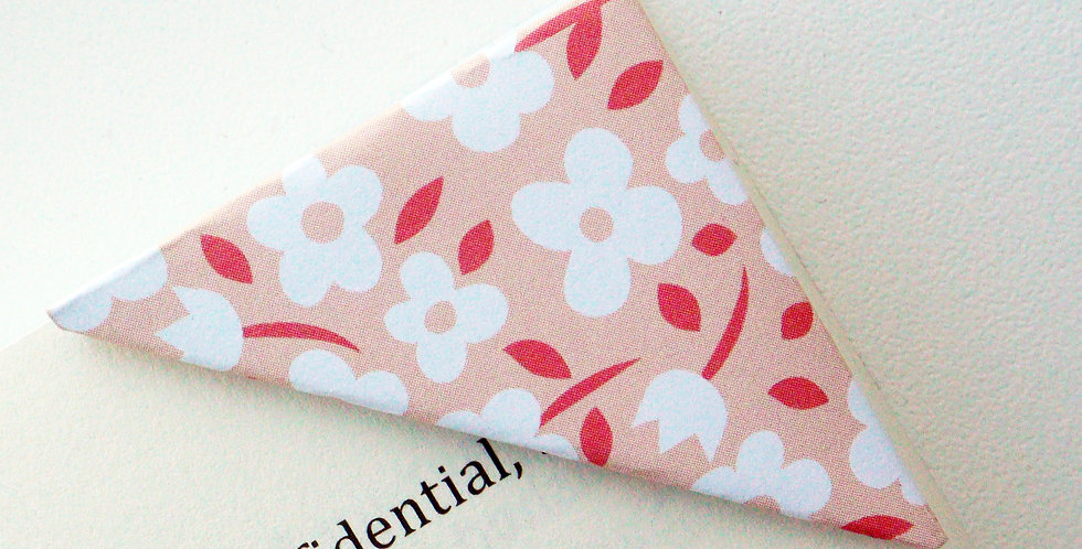 White Flower On Coral Bookmark