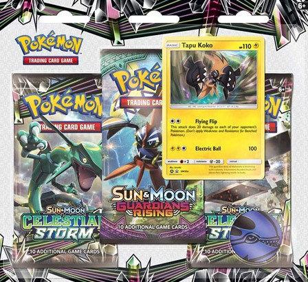 3 Packs Blister Celestial Storm Tapu Koko - Pokémon T.C.G.