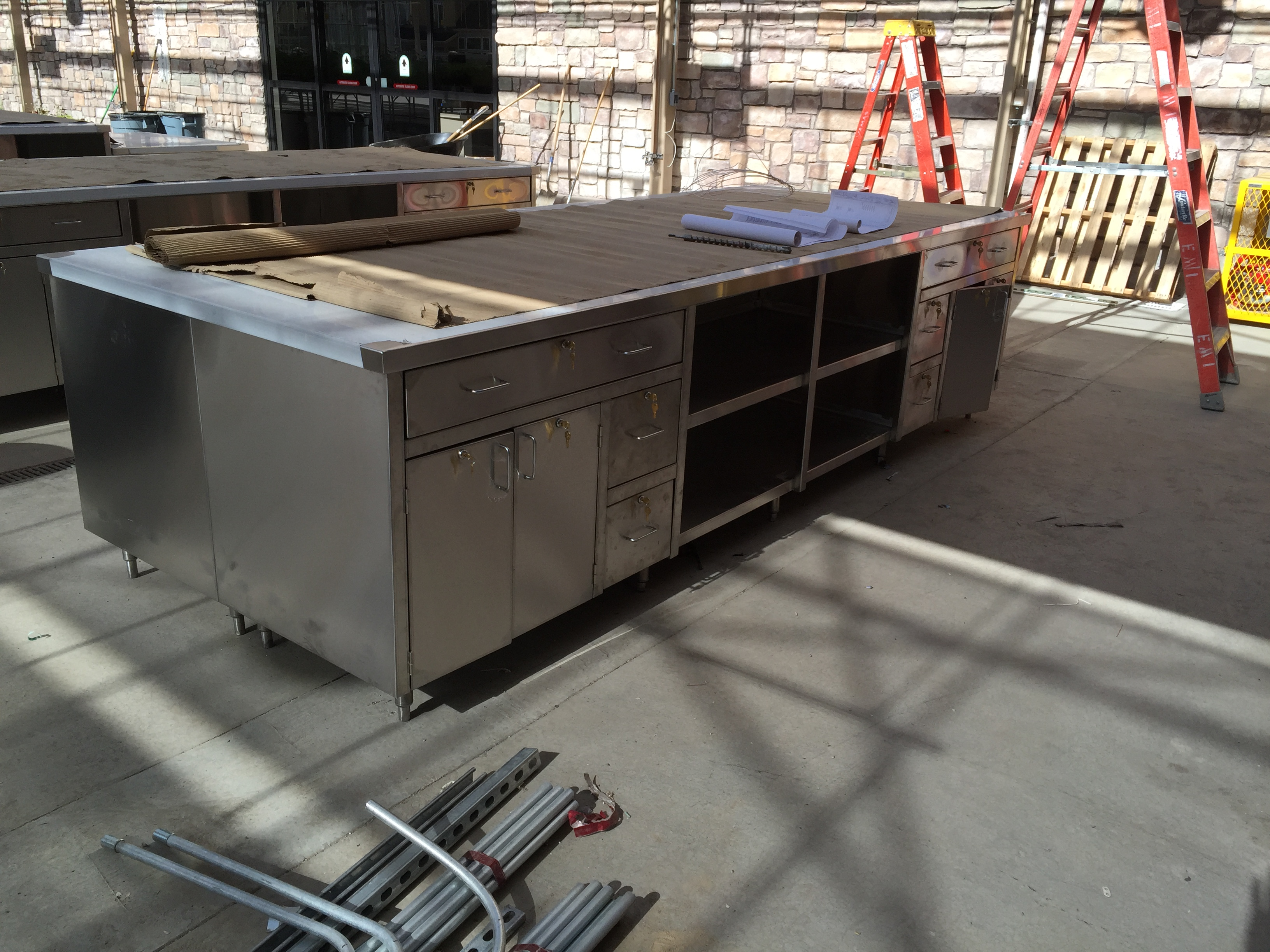 Full Stainless Steel Cabinet Tables
