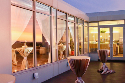 Terrace With A Sunset Reflection