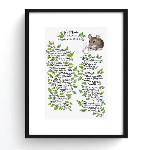 Robert Burns 'To A Mouse' Poem Illustrated Print