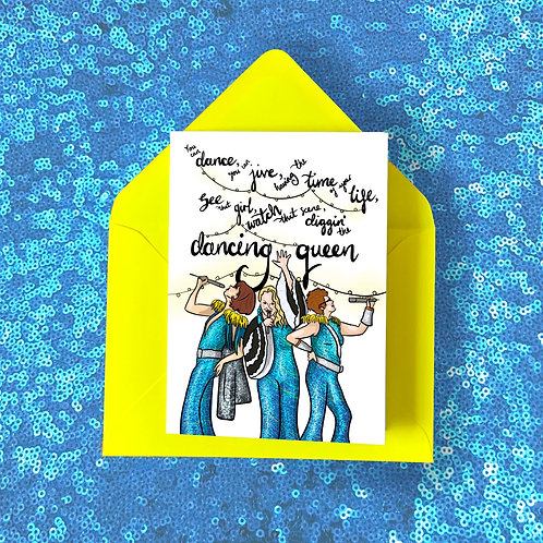Mamma Mia! Card featuring Donna and the Dynamos with ABBA's Dancing Queen Lyrics