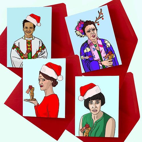 Fleabag's Family Christmas Cards (Pack of 4)